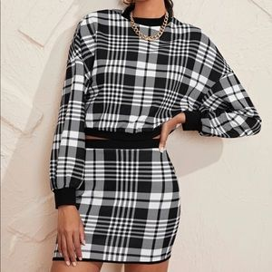 SHEIN Plaid Two Piece Shirt & Skirt Set Medium